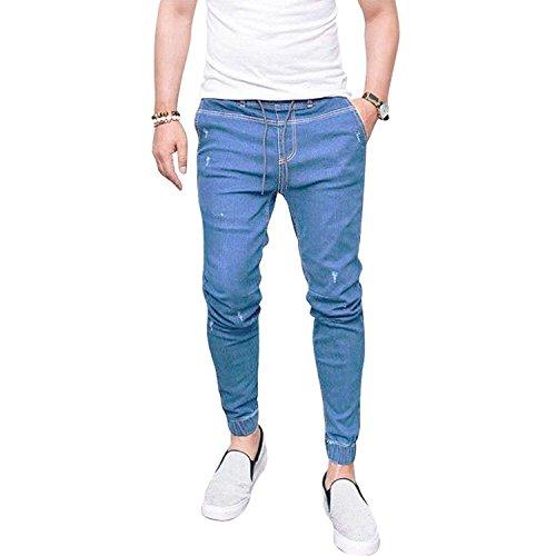 Yying Hombre Vaqueros Largo - Cómodo Cintura Elástica Straight Fit Casual Jeans Rotos Moda Cintura Media Slim Fit Denim Pantalones Azul Claro