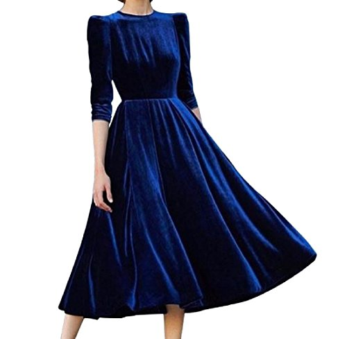 Pleated Dresses Gold Comfy Gown Velvet Solid Colored Ball Blue Women¡¯s BIvvx5wq87