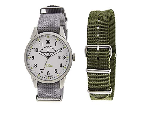 Zeno Pilot White Dial Canvas Strap Men's Watch ZE5231-6