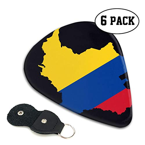 LXXTK Unique Flag Map of Colombia Celluloid Guitar Pick 6 Pack - Music Gifts for Bass, Electric & Acoustic Guitars