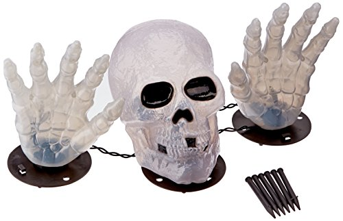 Skull and Hands Lighted Set Halloween Yard Decoration -