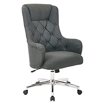 Avenue Six AVE SIX Ariel Tufted High Back Desk Chair with Wraparound Arms and Chrome Base, Klein Charcoal