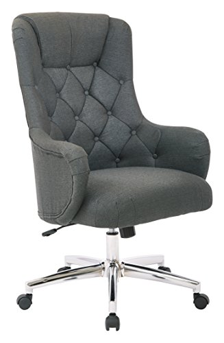 Chrome Fabric Chair - AVE SIX Ariel Tufted High Back Desk Chair with Wraparound Arms and Chrome Base, Klein Charcoal
