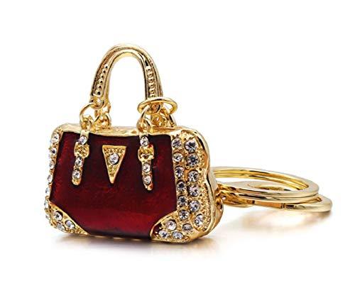 AM Landen Red and Gold Rhinestone Handbag Style Key Chain Best Friends Keychain Gift Key - Style Handbag Ring