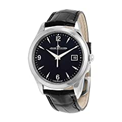 Stainless steel case with a black alligator leather strap. Fixed stainless steel bezel. Black dial with luminous silver-tone hands and index hour markers. Arabic numerals mark the 6, 9 and 12 o'clock positions. Minute markers around the outer...