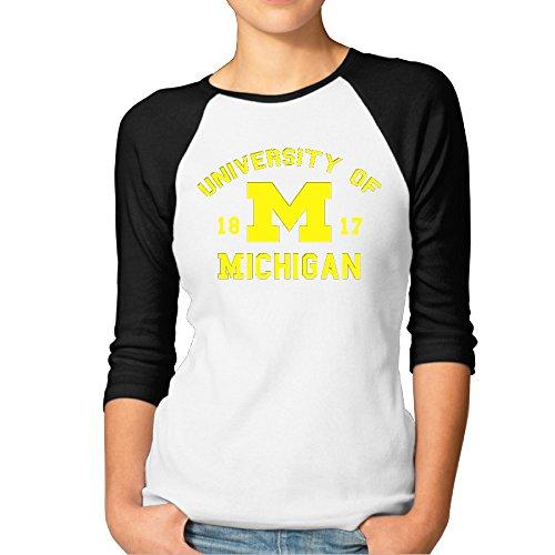 ElishaJ Women's University Of Michigan Casual 3/4 Raglan Sleeves Baseball Tshirts - Black L