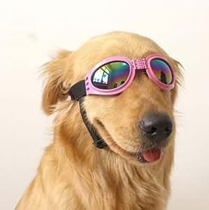 Top-Elecmart Pet Glasses Dog Sunglasses Dog Glasses Golden Retriever Samoyed Sunglasses Goggles Big Dog Eye Wear Protection (pink)