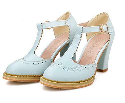 VogueZone009 Women's PU Solid Buckle Round Closed Toe High-Heels Pumps-Shoes Blue ZswBOut