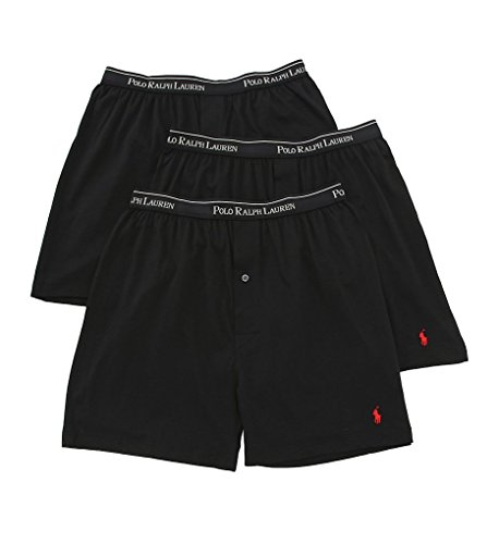 (Polo Ralph Lauren Knit Boxer Shorts with Moisture Wicking 100% Cotton - 3 Pack (M, Black 3))