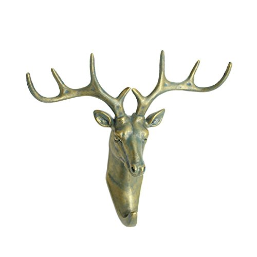zoz-deer-head-single-wall-decoration-hook-animal-shaped-resin-hanger-antique-brass