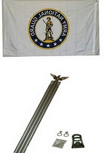 (Hebel 3x5 U.S. Army National Guard Flag w/ 6 Ft Aluminum Flagpole Flag Pole kit Eagle | Model FLG - 1434)