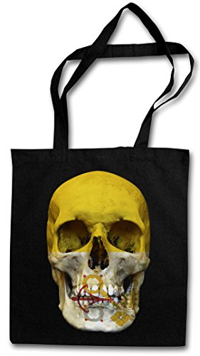 CLASSIC VATICAN SKULL FLAG Hipster Shopping Cotton Bag Cestas Bolsos Bolsas de la compra reutilizables - Bandera cráneo Schädel Banner Vatikan Vaticano