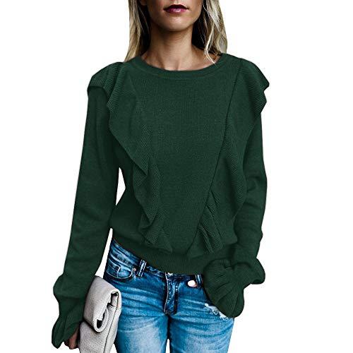 - Keliay Bargain Womens Fashion O-Neck Pure Color Pagoda Sleeve Ear Edge Blouse Loose Shirt Tops