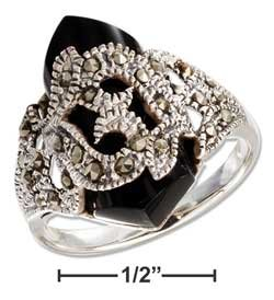[STERLING SILVER FACETED ONYX AND MARCASITE RING SIZE 6] (Marcasite Faceted Onyx Ring)
