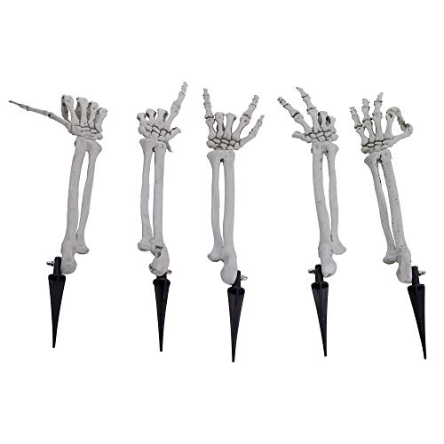 Halloween Haunters Set of 5 Life Size Skeleton Bone Arms with Hand Gestures Groundbreaker Lawn Stakes Prop Decoration - Gesture Signs, Peace, Ok, Hang 5, Thumbs Up, Number 1 - Haunted House Graveyard