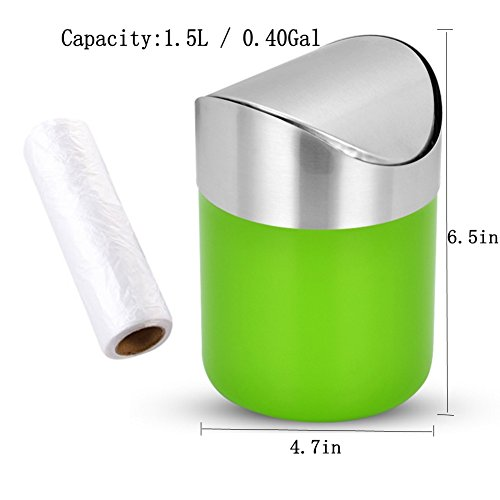 Bin Bag Halloween Costumes (Countertop Brushed Stainless Steel Swing Lid Table Desk Car Mini Trash Can Kitchen Trash Cans Trash Bin Set, Come with Trash Bag, 1.5 L / 0.40 Gal, 5 Color Options, Green)