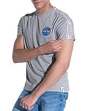 Course Herren T-Shirt NASA Kurzarm Rundhals NASA-Logo Shirt Baumwolle Druck