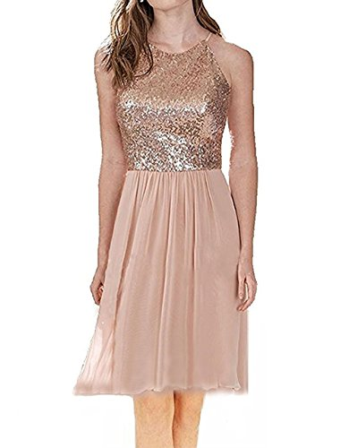 aea6086a53 Dannifore Halter Sleeveless Rose Gold Juniors Homecoming Dresses Short  Bridesmaid Gown StyleI Size 2