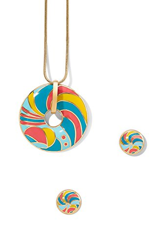 enamel-pendant-necklace-pierced-earring-set-snake-chain-open-circle-charm-studs-coral-yellow-turquoi
