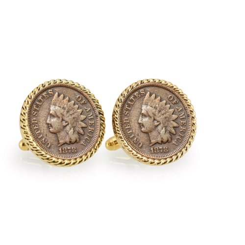 1800's Indian Head Penny Goldtone Rope Bezel Coin Cufflinks Set - Elegant Cuff-links with Bullet Style Closure to Secure Cuffs for Tuxedo, Suits or Dress Shirts | Real Certificate of Authenticity