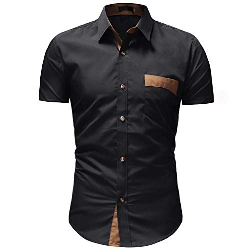 YOcheerful Men's Tops Solid Casual Button Down Shirts Short Sleeve Shirts Loose Pocket Tops Daily Blouses Black (Patons Patterns Free Wool)