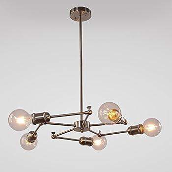 VINLUZ Sputnik Chandelier 5 Lights Industrial Semi Flush Mount Ceiling Light  Dinning Room Chandelier Lighting Modern