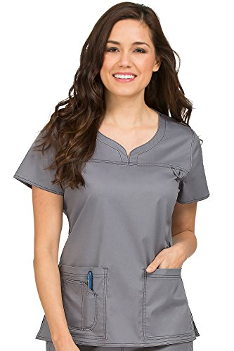 Med Couture Women's 'MC2' Sport Neckline Lexi Scrub Top, Steel, - Shop Sports United