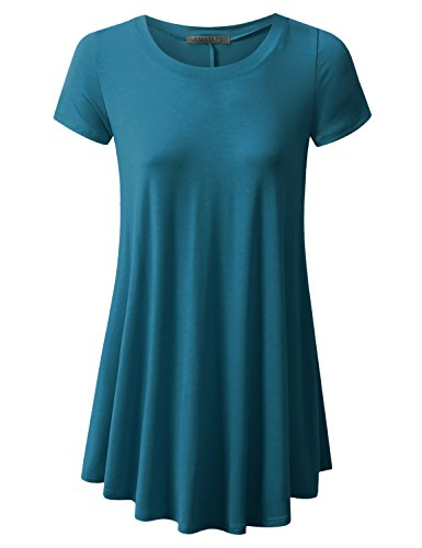 URBANCLEO Womens Round Neck eLong Tunic Top Mini T-shirt Dress TEAL MEDIUM