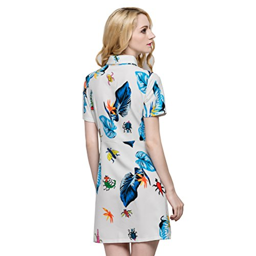 Glorria Women Colorful Insect Leaf Print Shirt Dress Summer Casual Fashion Turn-down Collar Short Sleeve Pockets Mini Dresses
