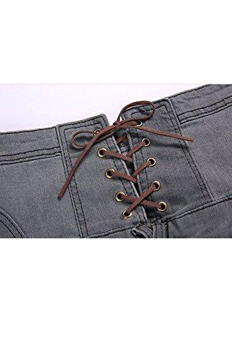Donne Le Pantaloncini Vepodrau Alta Grey Vita Pantaloni Merletto Jeans Breve Jeans Di qRR5rd