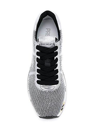 Conny2595 Cuero Zapatillas Mujer Plata Premiata negro qw7xUU