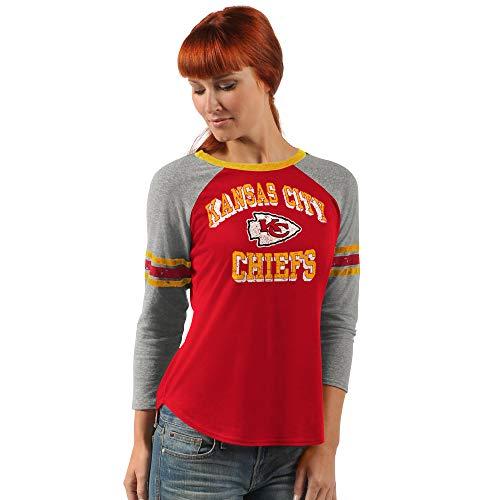 G-III Sports Kansas City Chiefs Women's On The Field 3/4 Sleeve Raglan T- Large
