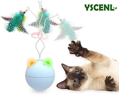 Juguete automático para gato/perro, plumas para mascotas, juguetes para gatos, juguetes para mascotas, bolas malvadas, carga USB o pilas AA, juguete interactivo para gato, apagado automático y silencioso, idea de regalo para
