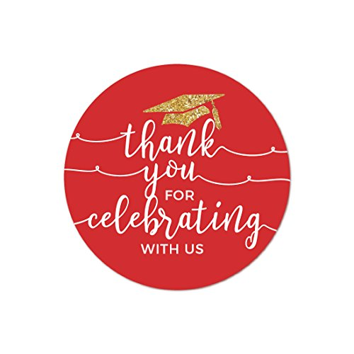 (Andaz Press Red and Gold Glittering Graduation Party Collection, Round Circle Label Stickers, Thank You for Celebrating with Us,)