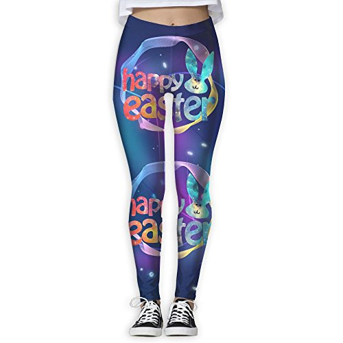 Happy Easter Bunny Face Womens Slim Workout Full Length Yoga Pant
