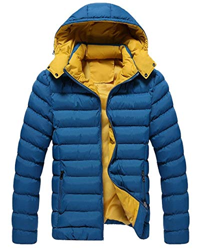 Sleeve Cotton Warm Comfortable HX Men's Coat Down Hooded Down fashion Thick Long Coat Thicken Quilted Sizes Jacket Outerwear Clothing Jacket Slim Blue nFqZOqwX