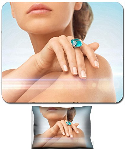 Luxlady Mouse Wrist Rest and Small Mousepad Set, 2pc Wrist Support design IMAGE: 34053054 wedding bridal jewelry and luxury concept close up of beautiful woman hand with big blue cocktail (Bridal Concept Jewelry)