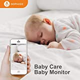 DophiGo Set of 1 camera1080P HD Dome 360° Wireless WiFi Baby Monitor Safety Home Security Surveillance IP Cloud Cam Night Vision Camera for Baby Pet Android iOS apps