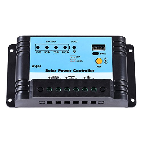 Lensun 10A 12V/24V Auto PWM Solar Charge Regulator Controller with USB Port by Lensun