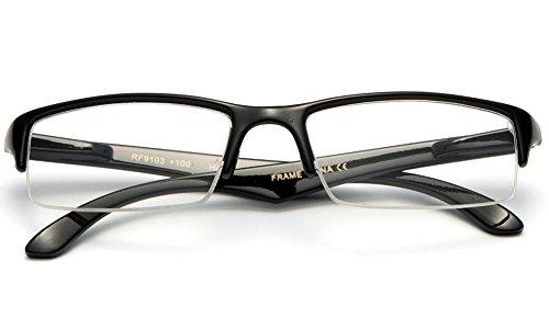 Fit Clear Slim Frame Lens Glasses Half Newbee Unisex Black Fashion txgqU4Pw