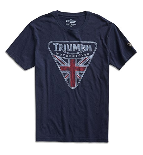 Lucky Brand Men's - Navy Triumph British Flag Badge T-Shirt (XX-Large) (Union Jack Badges)