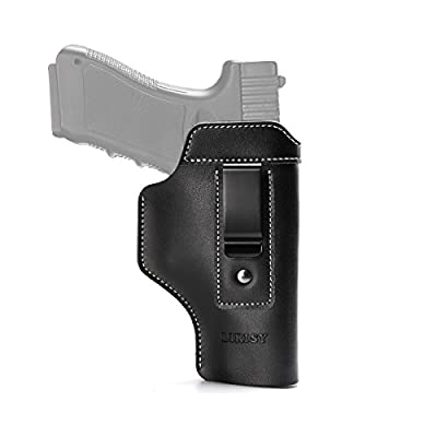 LIRISY Leather IWB Holster | Inside The Waistband Concealed Carry Gun Holster for Glock 17 19 22 23 32 33/S&W M&P Shield/Springfield XD XDS and Similar Handgun Pistols