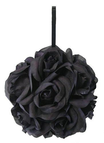 Black Silk Rose Kissing Ball - Pomander 6 inch ()