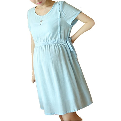 Laixing Buena Calidad Comfortable Cotton And Linen Casual Dresses for Women Maternity Dress #2056X1608 Light Blue