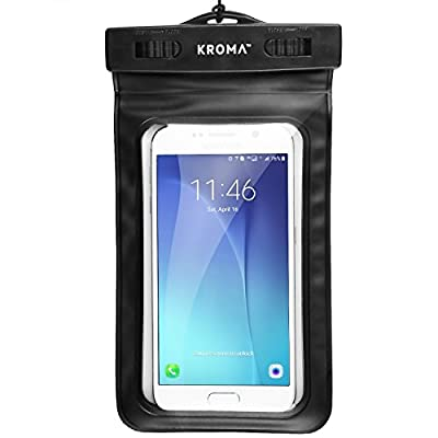 """Universal Waterproof Case, Kroma Cell Phone Dry Bag for Apple iPhone 6S 6,6S Plus, 5S 7, Samsung Galaxy S7, S6 Note 5 4, HTC LG Sony Nokia Motorola up to 6.0"""" diagonal (Black)"""