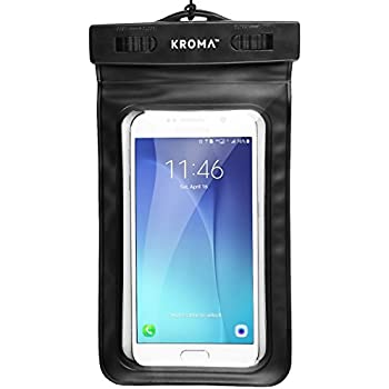 "Universal Waterproof Case, Kroma Cell Phone Dry Bag for Apple iPhone 6S 6,6S Plus, 5S 7, Samsung Galaxy S7, S6 Note 5 4, HTC LG Sony Nokia Motorola up to 6.0"" diagonal (Black)"