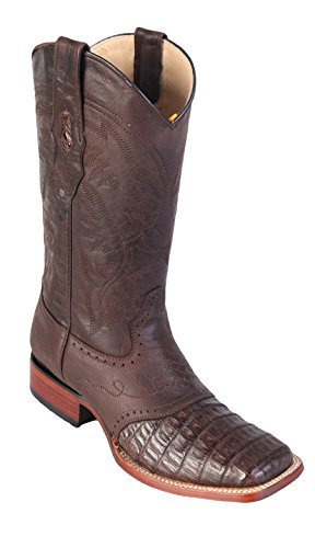 w Caiman Skin Los Belly Leather Boots Genuine Men's Square Wide Saddle Brown Toe Western Altos qw8vU
