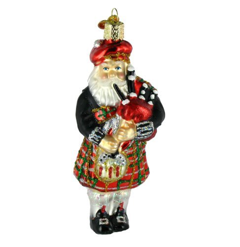 Glass Santa Christmas Tree - Old World Christmas Ornaments: Highland Santa Glass Blown Ornaments for Christmas Tree