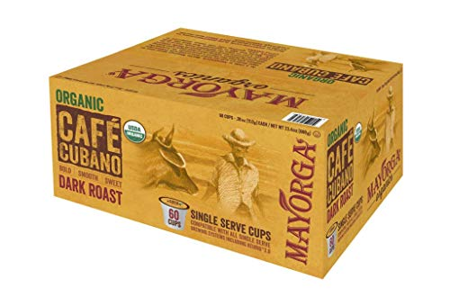 Mayorga Organics Cafe Cubano, Single Serve, Keurig Pods, K-Cup (60 ct)
