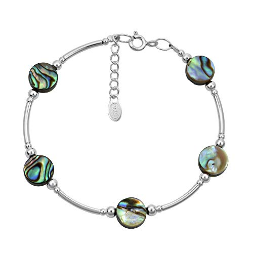 (AeraVida Round Abalone Shell .925 Sterling Silver Link)